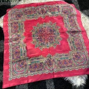 Vtg 80s red patterned square large scarf satin